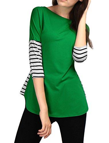 - Allegra K Women's Dolman Sleeves Round Neck Striped Dolphin Hem Top Green M (US 10)