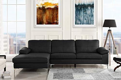 Amazon.com: Sofá de piel seccional, sofá en forma de L con ...