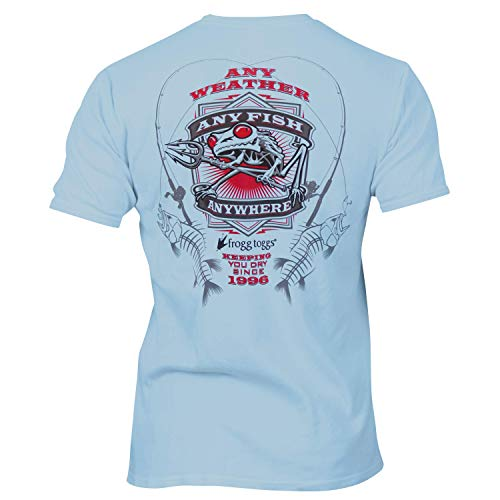 Frogg Toggs FTSSAF-02 Any Fish, Anywhere Short Sleeve Performance Shirt, Blue with Green Logo, X-Large ()