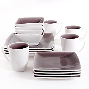 Gibson Studio Pleasanton 16-Piece Dinnerware Set Square Purple  sc 1 st  Amazon.com & Amazon.com | Gibson Studio Pleasanton 16-Piece Dinnerware Set ...