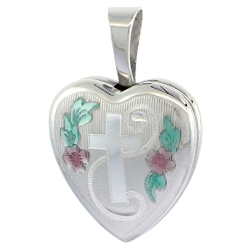 (Very Tiny 1/2 inch Sterling Silver Cross Locket Necklace for Girls Heart shape Green & Pink Enamel, 16 inch RL_30H )