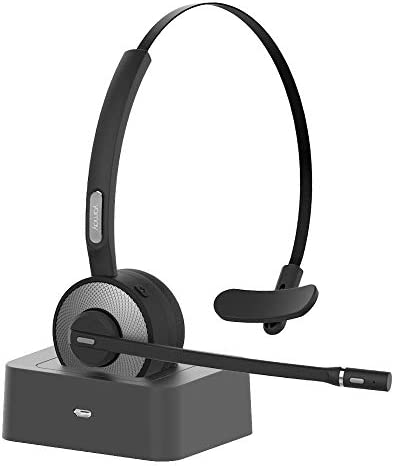Bluetooth Headset, YAMAY Wireless Headset with Microphone Noise Cancelling Mic Charging Base Mute Button 19H Clear Talk Time Pro for Truck Driver Office Buiseness Call Center Home Smartphones PC