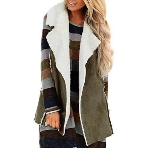 Kininana Women Fashion Classic Faux Suede Cozy Vest Coat Winter Keep Warm Plus Velvet Pocket Sleeveless Cardigan Jacket