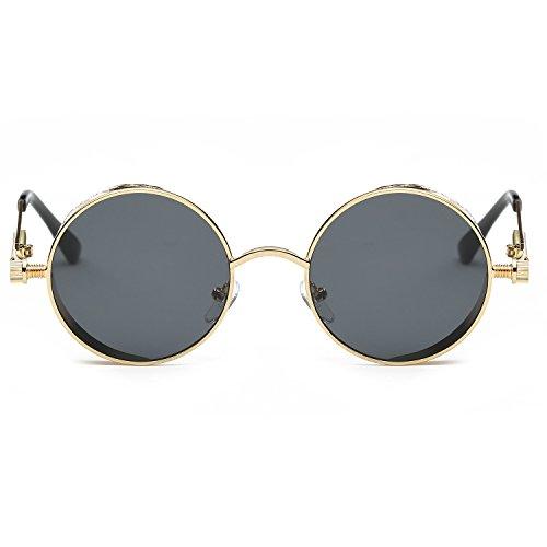 New Sunglasses CVOO Gray Round Steam Frame Vintage Retro Fashion Punk Mirrored Gold Eyewear dwBqIB