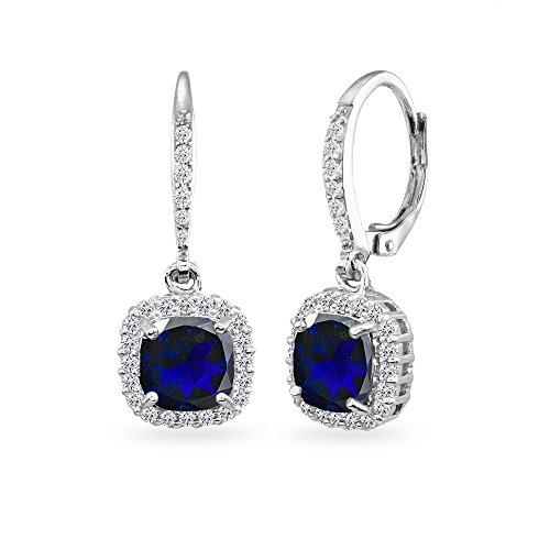 Sterling Silver Created Blue Sapphire Cushion-Cut Dangle Halo Leverback Earrings with White Topaz Accents (Earrings Cut Dangling Sapphire)
