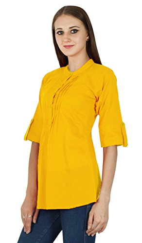 Coton Vtements en pour Tunique Top Robe Sundress Boho Solide Jaune Ocre wqH0x