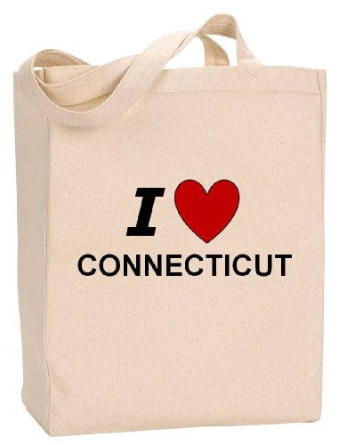 I LOVE CONNECTICUT - State Series - Natural Canvas Tote Bag with - Stamford Shopping Connecticut