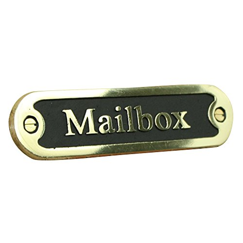 Mailbox Brass Door Sign. Traditional Style Home Décor Wall Plaque Handmade By The Metal Foundry UK.