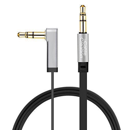 Aux Cable, CableCreation 6 FT Flat 3.5mm Auxiliary Audio Stereo Cord 90 Degree Right Angle Compatible Car,Home Stereos, Headphones,Apple iPod iPhone iPad, Smartphone, MP3 Player,Black ()