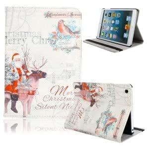 Christmas Series PU Leather Protective Case with Santa Claus + Bird Pattern for iPad Mini
