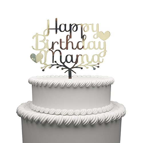 Happy Mama Birthday Acrylic Heart Cake Topper (Gold) -Happy Birthday For Mother Cake Supplies Decorations (gold)