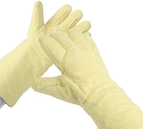 手袋 日常 実用 高温耐性手袋耐摩耗性アンチカッティングハンドパンク防止工業労働手袋 (Color : Yellow, Size : M)