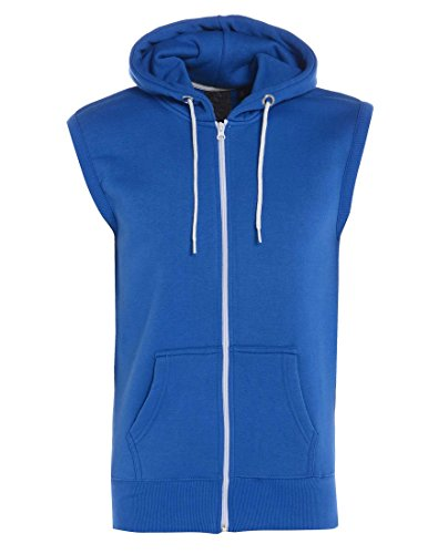 Gracious Girl - Abel hommes raffinent Zip Fleece Fixer capuche sans manches Gillet Sweat pour Veste bleu royal