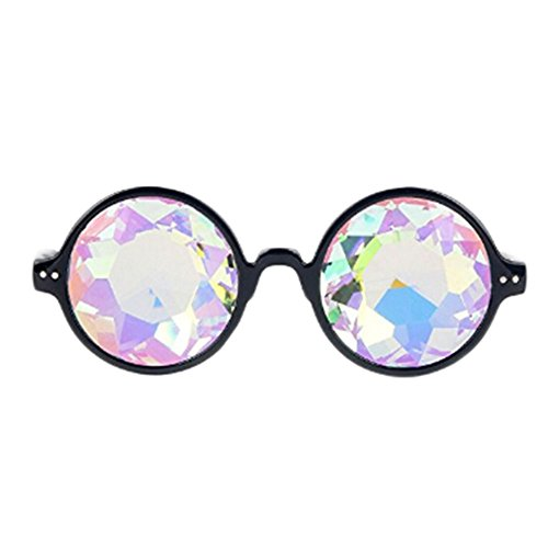 Tdmall Fashion Geometric Prism Rainbow Kaleidoscope Glasses Black Frame Party Bling Bling Crystal Prism - Frames Glasses Geometric