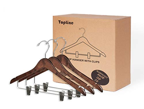 (Topline Classic Wood Shirt Hangers with Clips - Mahogany Finish (10-Pack))