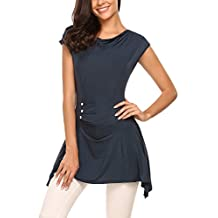Meaneor Women's Casual Short Sleeve Cowl Neck Ruched Button Tunic Top Shirt