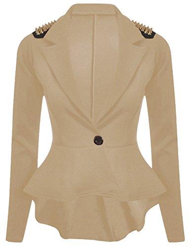 Red Olives? Womens Ladies One Button Spike Studd Frill Peplum Blazer Studded Jacket Top UK 8-24 Stone