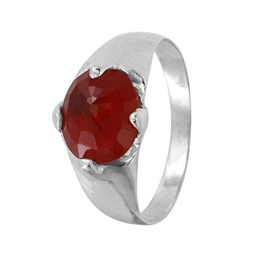 2.6 Carat Natural Red Ruby 10K Two Tone Gold Cocktail Ring for Women Size 6 ()