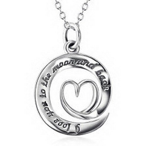 jacob alex #40648 925 Sterling Silver I Love You To The Moon and Back Necklace Moon Heart Pendant by jacob alex