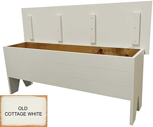 Sawdust City Wooden Storage Bench 4 Long Old Cottage White