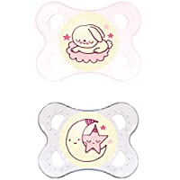 MAM Night Orthodontic Pacifier, Girl, 0-6 Plus Months, 2-Count