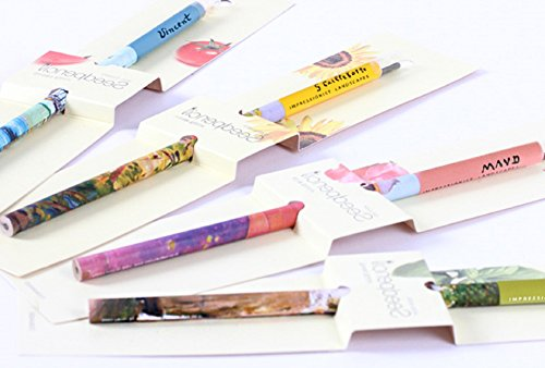 Seed Pencil Painted With Famous Masterpieces, Seed Pencil Gift Set, 4 Pack (Sunflower, Basil, Garden balsam, Cherry tomato)