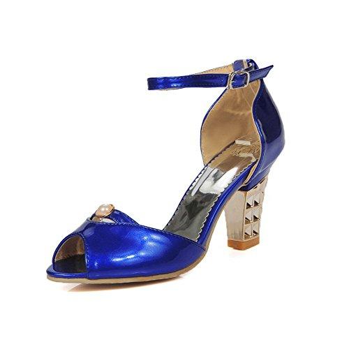 Amoonyfashion Vrouwen Gesp Peep Toe Hoge Hakken Blend Materialen Massieve Sandalen Blauw