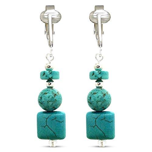 - Trendy Turquoise Clip On Earrings for Women - Teardrop & Cube Clip-on Earrings w Pierced Look, Clip (Modern Cubes)