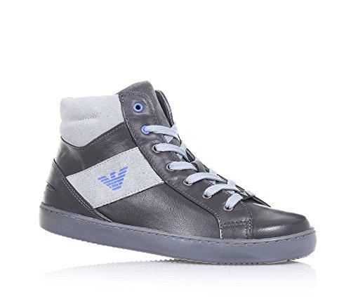ARMANI - Grauer Sneaker aus Leder mit grauen Applikationen aus Spaltleder, seitlich ein Reißverschluss, seitlich ein Logo, sichtbare Nähte, Jungen