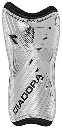 Diadora Youth Scudo Shin Guards, Silver - X-Small by Diadora