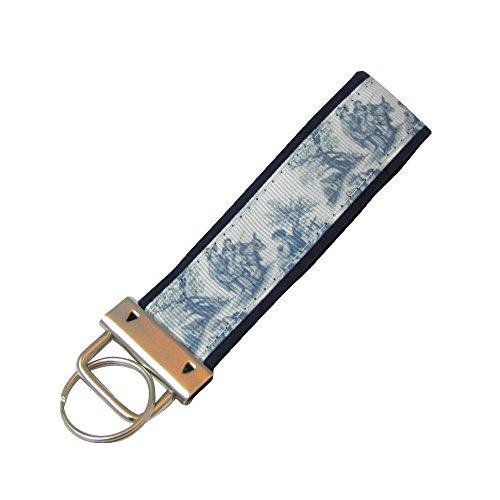 Blue Toile Key Fob/Fabric Key Chain on Blue -