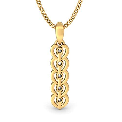 Or jaune 18K 0.16CT TW Round-cut-diamond (IJ | SI) Pendentif