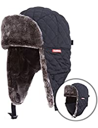 Winter Trooper Trapper Hat Ushanka Russian Ear Flap Aviator Hat With Mask