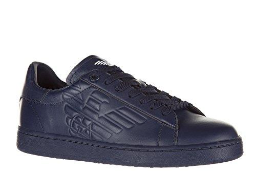 Emporio Armani EA7 zapatos zapatillas de deporte hombres en piel nuevo blu