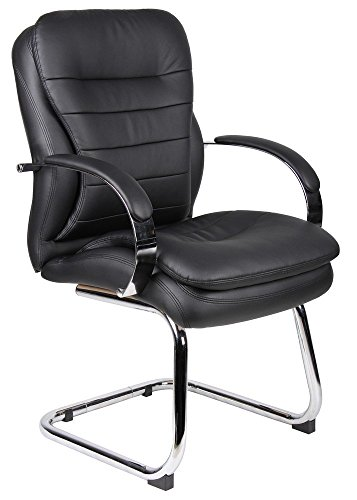 (Boss Office Products B9229 CaressoftPlus Guest Chair with Chrome Base in Black)