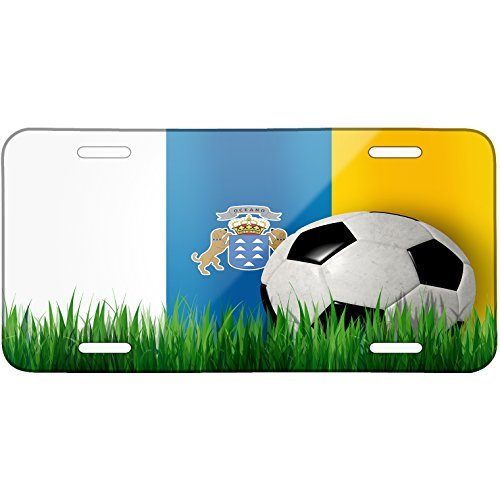 Soccer Team Flag Canary Islands region Spain Metal License Plate 6X12 Inch by Saniwa