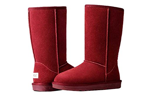 HooH Women's Leather Simple Warm Snow Boots 5815 Red WDRfSyX