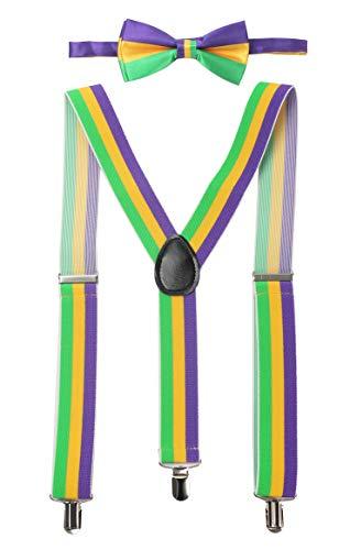 Costume Party Suspenders and Bowtie Set Accessories Clip On Y Shape Adjustable Braces, Pant Suspenders Shoulder Straps for Men Women Children (Purple&Yellow&Green) ()
