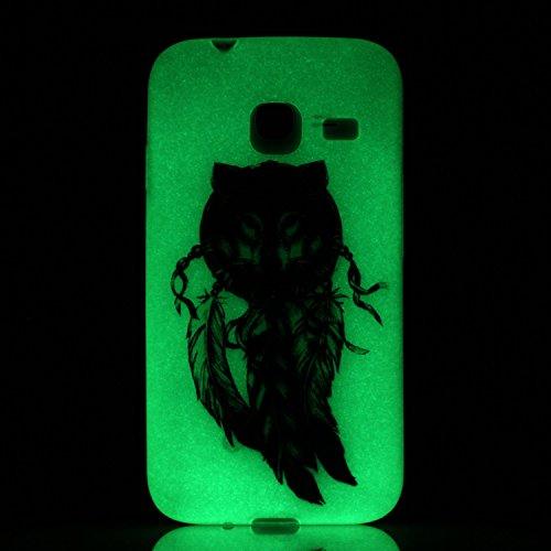 CaseHome Samsung Galaxy J3 2016/2015 Luminoso Funda (Con Gratis Pantalla Protector) Creativo Único Vistoso Patrón Impreso Diseño Fluorescente Efecto Verde Brillo Nocturno En la Oscuridad Ultra Delgado Lobo Atrapasueños