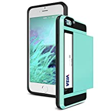 iPhone 4S Case,JOBSS [Card Pocket] iPhone 4S Wallet Case Impact Resistant Hybrid Armor Defender Snap-on Black Soft Rubber Bumper Cover Skin Protective Shell Card Slot Holder for iPhone 4 4S Mint Green
