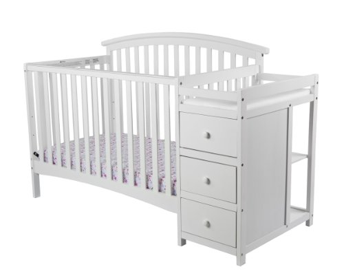 Dream On Me Niko 5-in-1 Convertible Crib with Changer, White