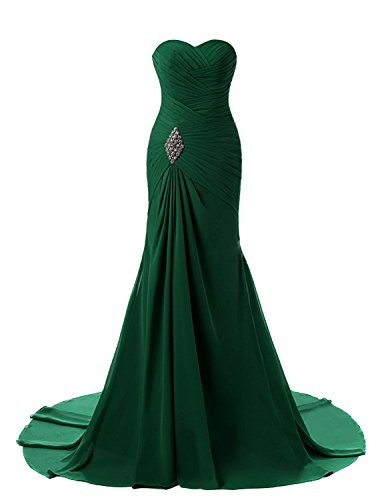 (Lily Weddding Womens Sweetheart Mermaid Prom Bridesmaid Dresses 2018 Long Formal Evening Ball Gowns FED00302 Emerald Size10)