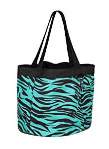 Perri's Nylon Grooming Tote Bag with 4 Pockets, Turquoise Zebra, One Size
