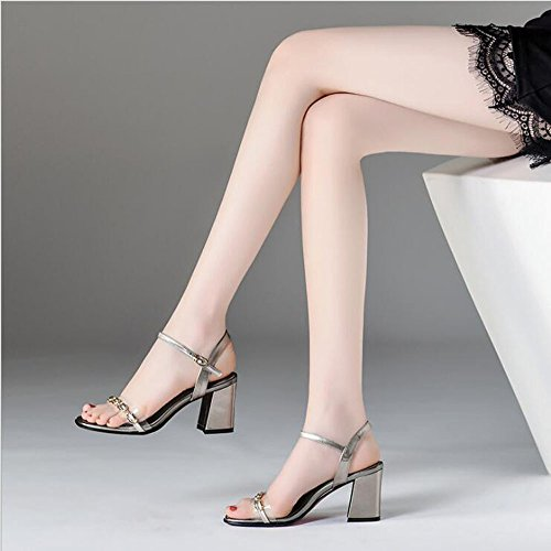 Sandalo Punta Aperta Donna Metallo Vera da Fibbia Tacco Colore Gun Femmina Color Dimensioni Nuovo 35 Quadrata Alto Cinturino Testa Pelle Scarpe Tacco Catena Estate PanTqZp