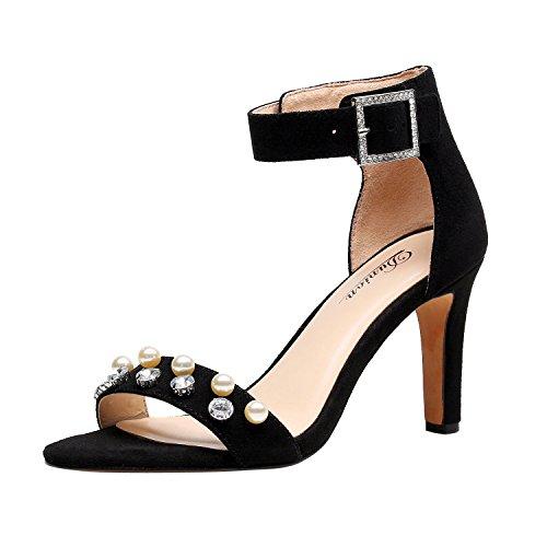 DUNION Women's Amy Rhinestone Strappy Stiletto High Heel Dress Sandal Party Prom Wedding Shoe,Black,8.5 B(M) US ()