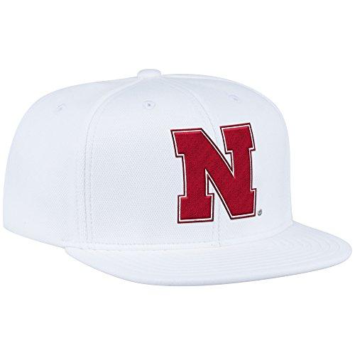 adidas NCAA Nebraska Cornhuskers Men's ZNE Flat Brim Snapback Cap, One Size, White (Cornhuskers Basketball Mens Nebraska)