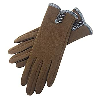 Womens Winter Gloves Warm Lined Touch Screen Driving Gloves (Brown)