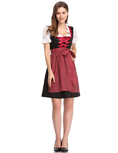 Clearlove Limited Traditional Dirndl Women Dresses Blouse Apron (Red and Black, XL)
