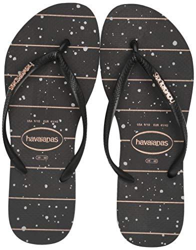 Havaianas Women's Slim Logo Metallic Flip Flop Sandal, Black/Black/Rose Gold Metallic, 11/12 M ()
