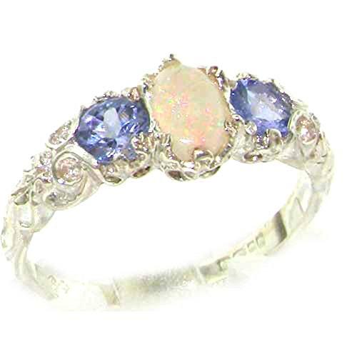 18k White Gold Natural Opal and Tanzanite Womens Trilogy Ring - Sizes 4 to 12 (White Gold Trilogy Ring)